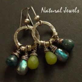 Earthy Earrings Blue and Green