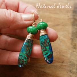 Blauw-groene edelsteen oorbellen