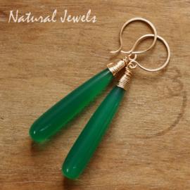 Groene Onyx pegels gouden oorbellen