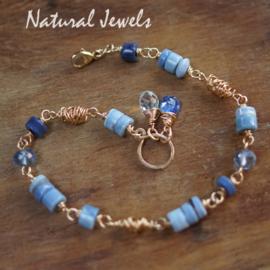 Blauwe Opaal armband goud