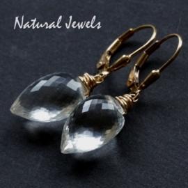 14K Goldfilled oorbellen Exquisit Rockcrystal