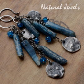 Robust silver earrings Kyanite