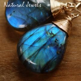 Zilveren Labradoriet oorbellen blauw