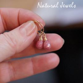 Rhodoniet oorbelletjes goud