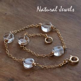 Gouden armband of enkelband Bergkristal muntjes