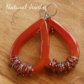 Oranje edelsteen oorbellen