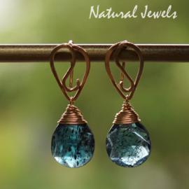Blauwe edelsteen oorbellen goud