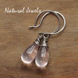 Gereserveerd - zilveren oorbellen AAA Rozenkwarts
