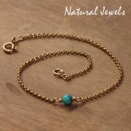 Gouden armbandje of enkelbandje met Turquoise