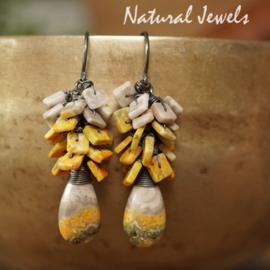 Bumble-bee Jaspis Zilveren oorbellen