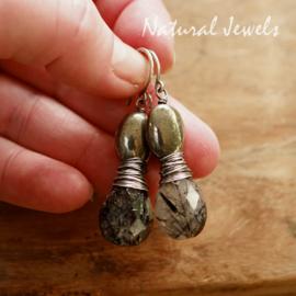Zwarte edelsteen oorbellen zilver