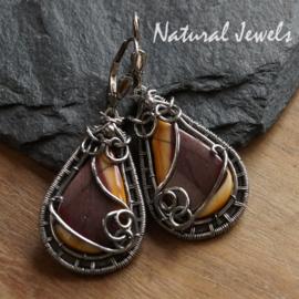 Zilveren oorbellen Mookaiet Jaspis