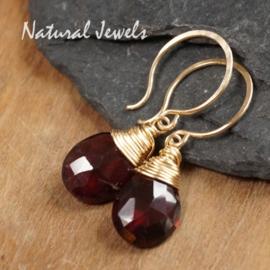 Gouden oorbellen Rode Granaat
