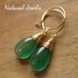 Gouden oorbellen Groene Kwarts