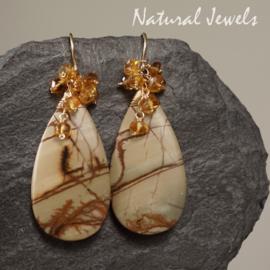 Gele edelsteen oorbellen goud