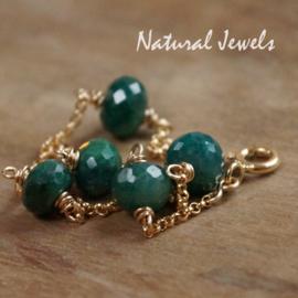 Gouden armband met Smaragd rondellen