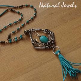 Zilveren Boho halsketting Turquoise