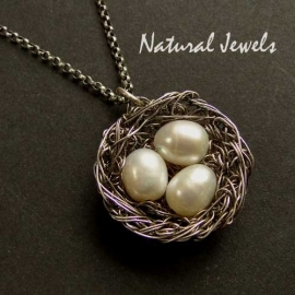 Oxidized Silver Bird`s nest pendant with 1, 2 or 3 eggs