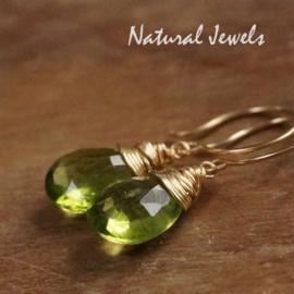 Goldfilled oorbellen Peridot