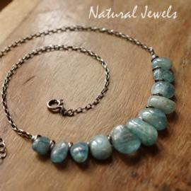 Aquamarijn zilveren halsketting