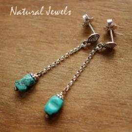 Turkoois zilveren oorbellen