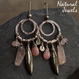 Zilveren oorbellen Pyriet en Rozenkwarts
