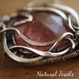 Roze edelsteen hangertje zilver