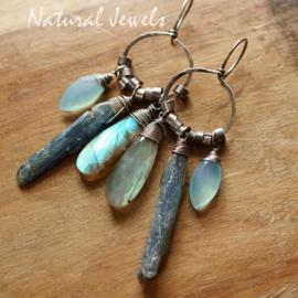 Robuuste blauwe zilveren oorbellen