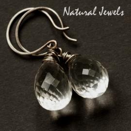 Zilveren oorbellen grote Bergkristal briolet