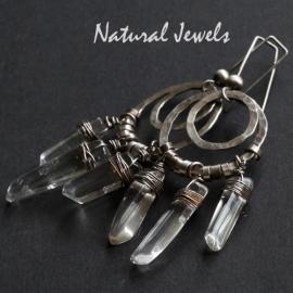 Zilveren oorbellen Bergkristal staven