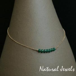 Gouden halskettinkje met Smaragd rondellen