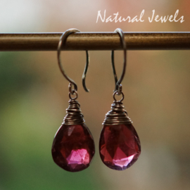 zilveren oorbelletjes Rode Granaat
