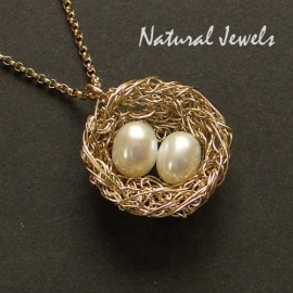 14K Goldfill Bird`s Nest with 1, 2 or 3 eggs