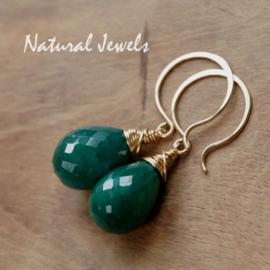 Gouden oorbellen Smaragd