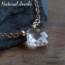 Gouden halsketting Bergkristal Diamond