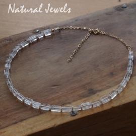 Bergkristal halsketting goud