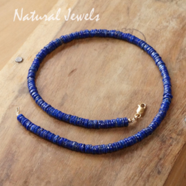 Gouden halsketting Lapis Lazuli discs