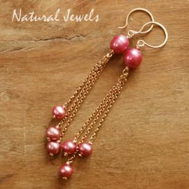 Roze parel oorbellen