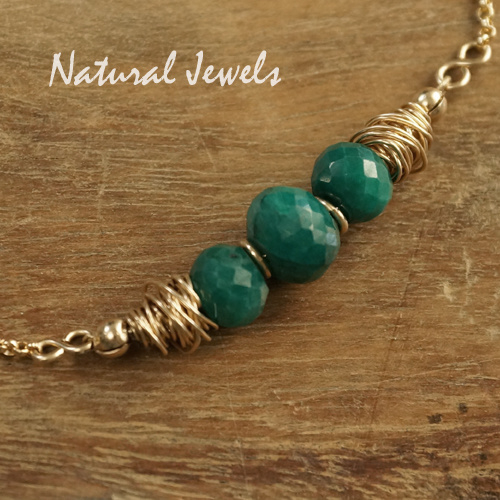 14K Goldfilled halsketting Smaragd rondellen