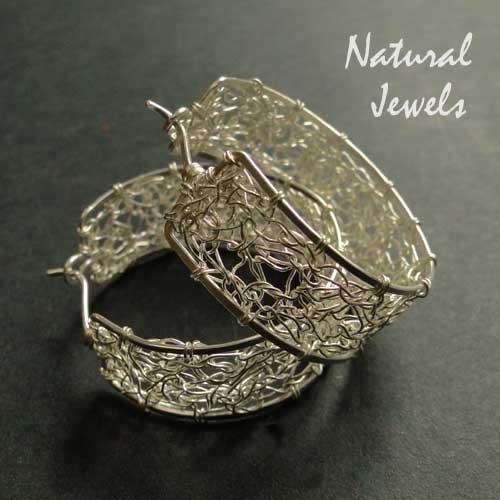 Earrings Web of Silver - wide