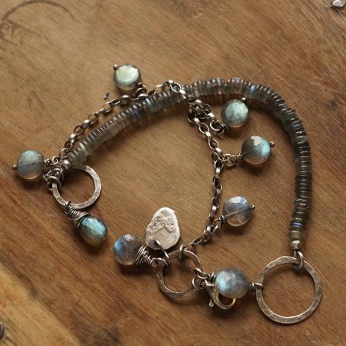 zilveren handgemaakte armband Labradoriet