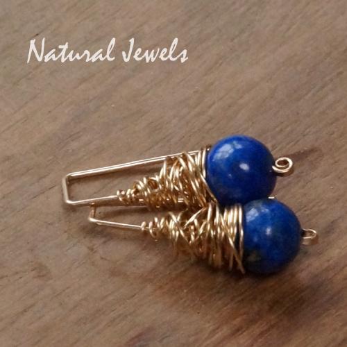 Gereserveerd - gouden Lapis Lazuli cocoon pins