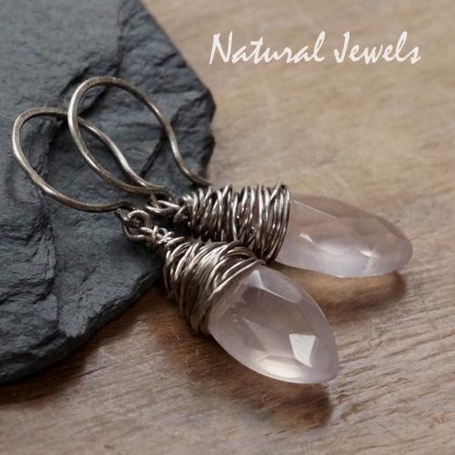 Zilveren oorbellen Rozenkwarts Cocon