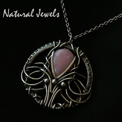Necklace Jugendstil Pink Opal