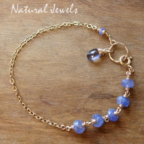 Blauw edelsteen armbandje goud
