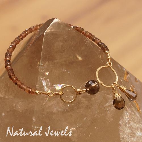 Gouden handgemaakte Armband edelstenen Andalusiet en Rookkwarts