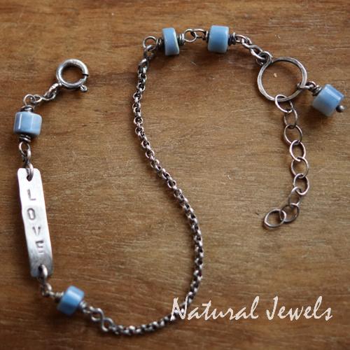 Blauwe Opaal armbandje zilver