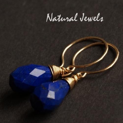 14K Goldfilled oorbellen met facet Lapis Lazuli