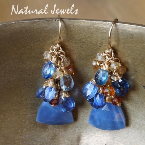 Blauwe edelsteen oorbellen goud - gereserveerd