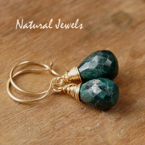 Gouden oorbellen met Smaragd briolet